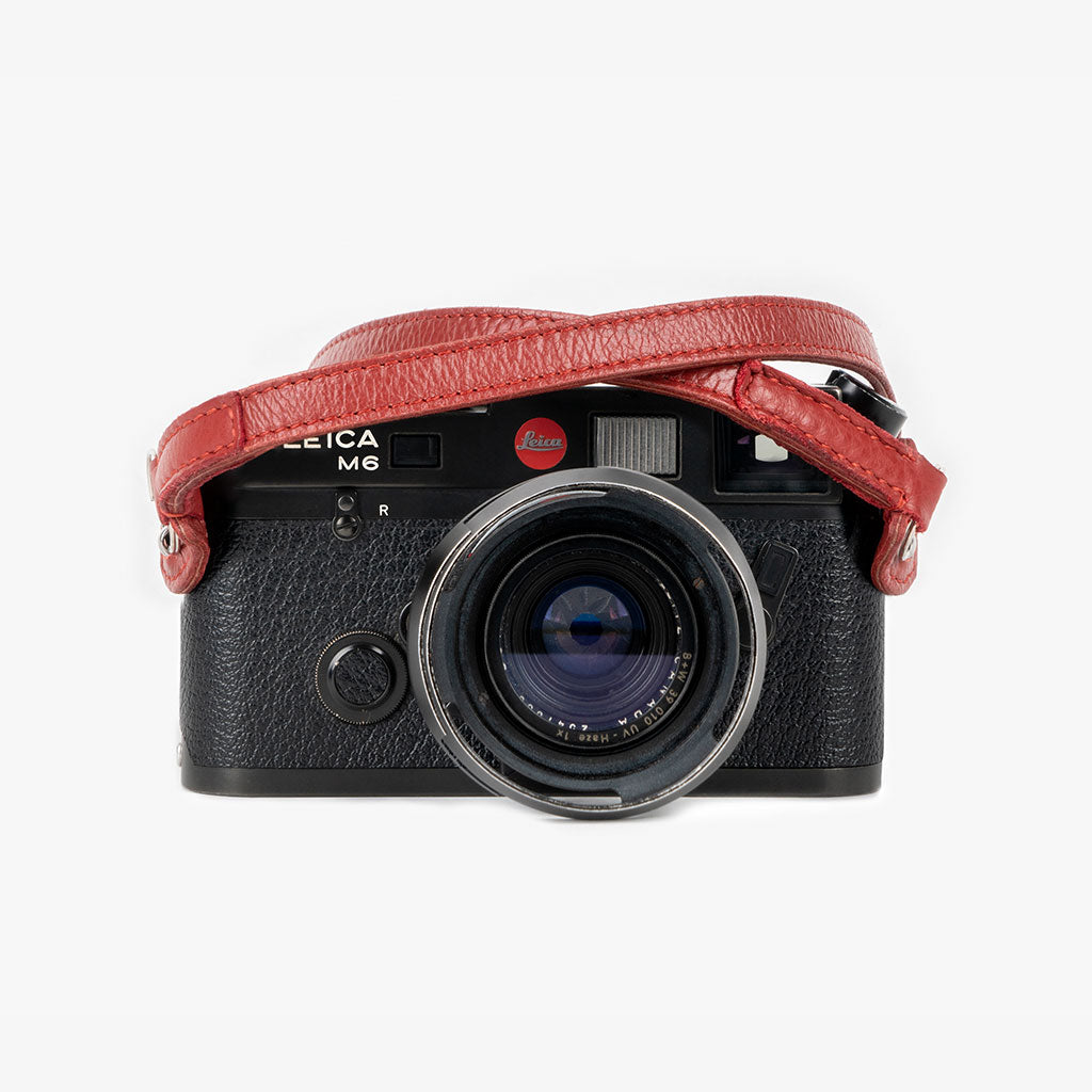 Roma #103 - Red Leather camera strap