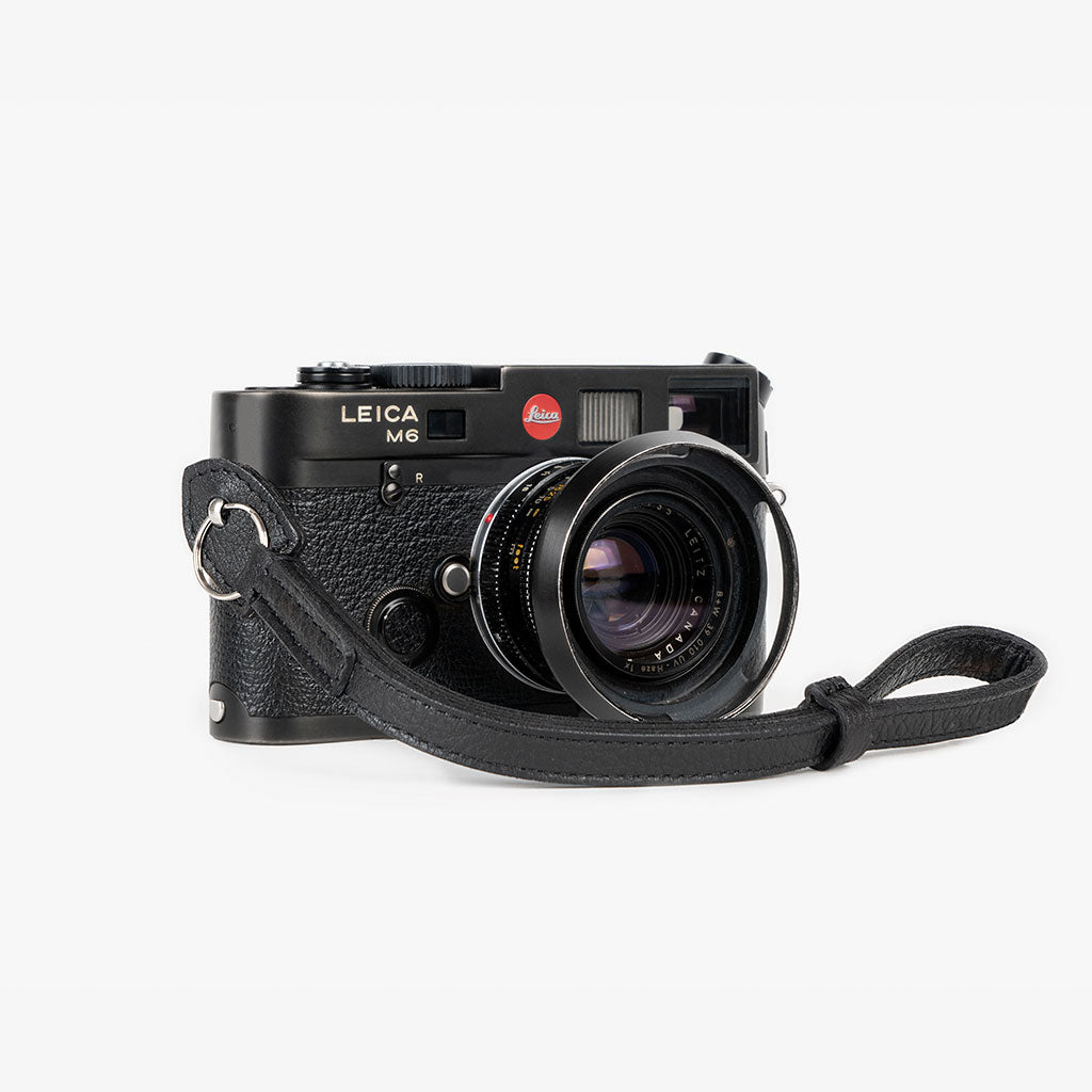 Roma #201 - Black Leather camera strap