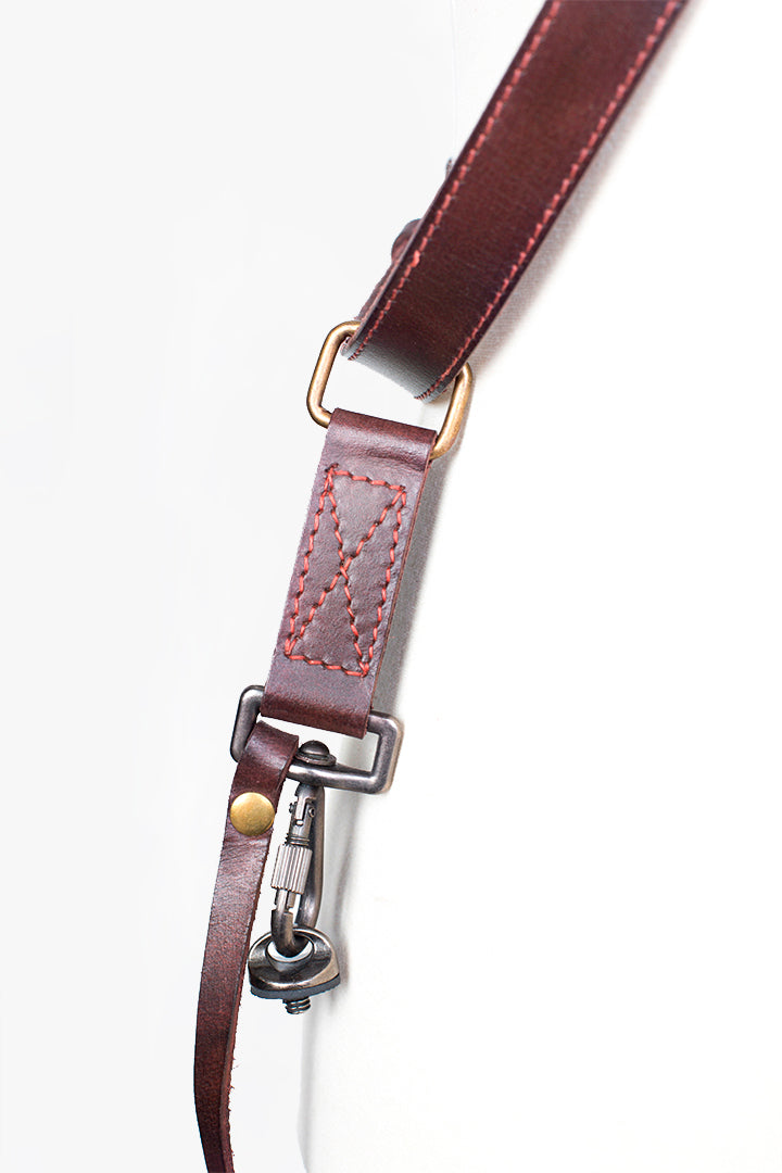 Tokyo #602 - Brown & Red sling leather camera strap