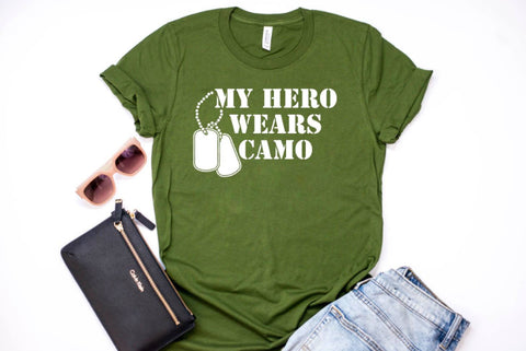My Hero Wears Camo Adult Shirt