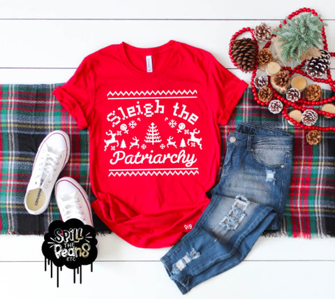 Sleigh the Patriarchy Ugly Christmas Tee Holiday Adult Shirt