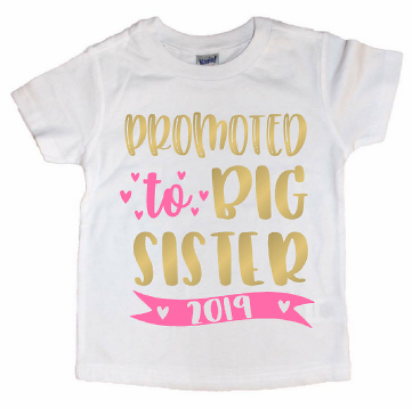 Promoted to Big Sister Pregnancy Announcement Sibling Bodysuit or Kids Tee