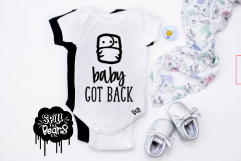 Baby Got Back Fluff Butt Cloth Diaper Bodysuit or Tee