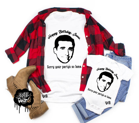 Happy Birthday Jesus Michael Scott The Office Christmas Adult Shirt