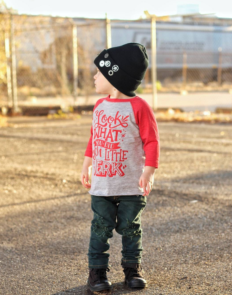 Look What You Did You Little Jerk! Christmas Raglan Tee