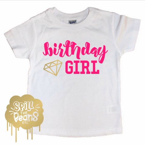 Birthday Girl Diamond Kids Birthday Tee
