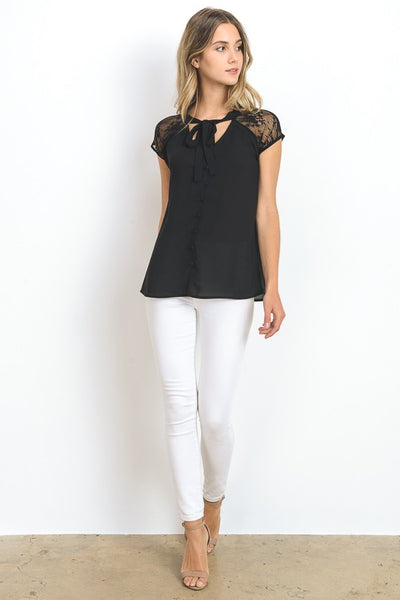 Black Raglan Button Down Top With Tie Neck