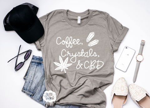 Coffee, Crystals, & CBD Adult Tee Or Tank