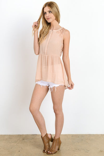 Crinkled Hi-Low Peplum Button Down Tank