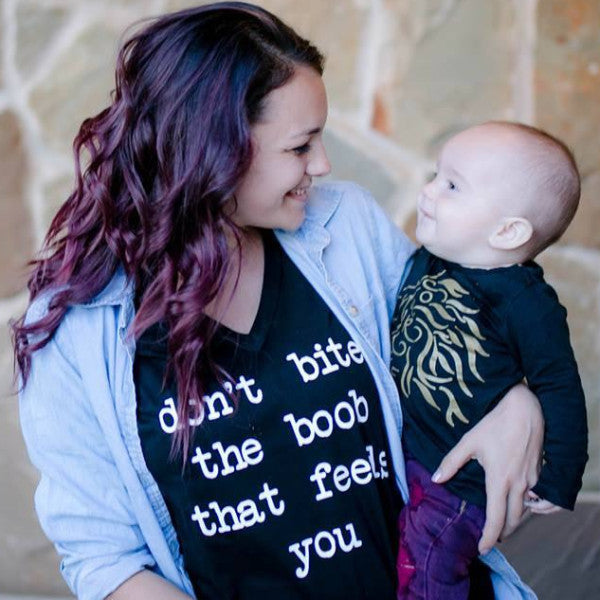 Don't Bite the Boob that Feeds You Breastfeeding Mama Tee or Tank