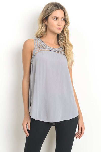 Embroidered Front Satin Tunic Tank With Side Sllit In Grey