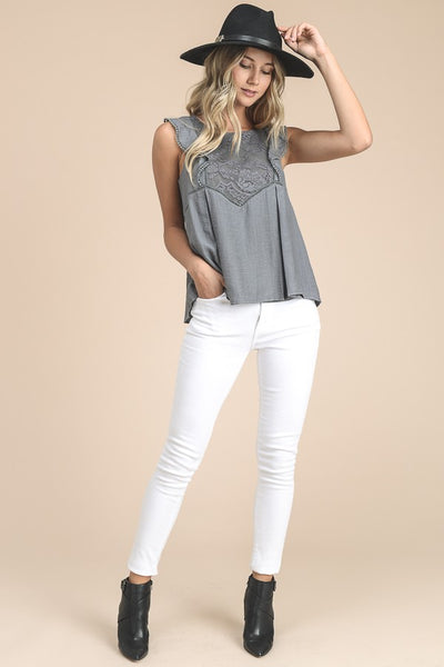 Flutter Sleeve Peplum Top With Lace In Grey