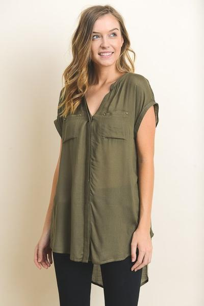 Extra Long Dolman Shirt With Front Pockets
