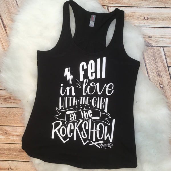 Trendy Women's tee Song Lyrics Girl at a Rock Show Blink Racer Back Tank Top Shirt Work Out 182 Custom Colors, Plus Size 2x 3x 4x