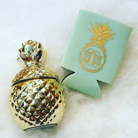 Pineapple Monogrammed Can Cooler Sleeve Gold Mint Custom Colors Available Weddings Bachelorette Parties Best Friends Matching Gifts