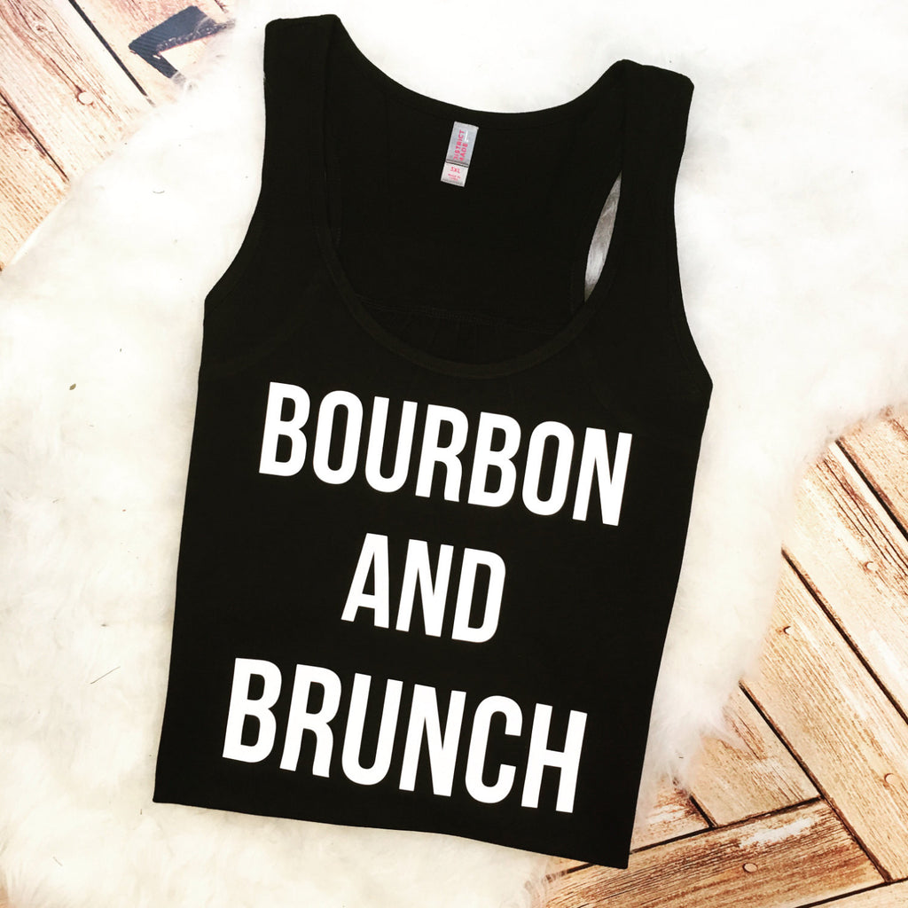 Trendy Foodie Women's Brunch and Bourbon Food Booze Gym Racer Back Tank Top Shirt Custom Colors, Plus Size 2x 3x 4x