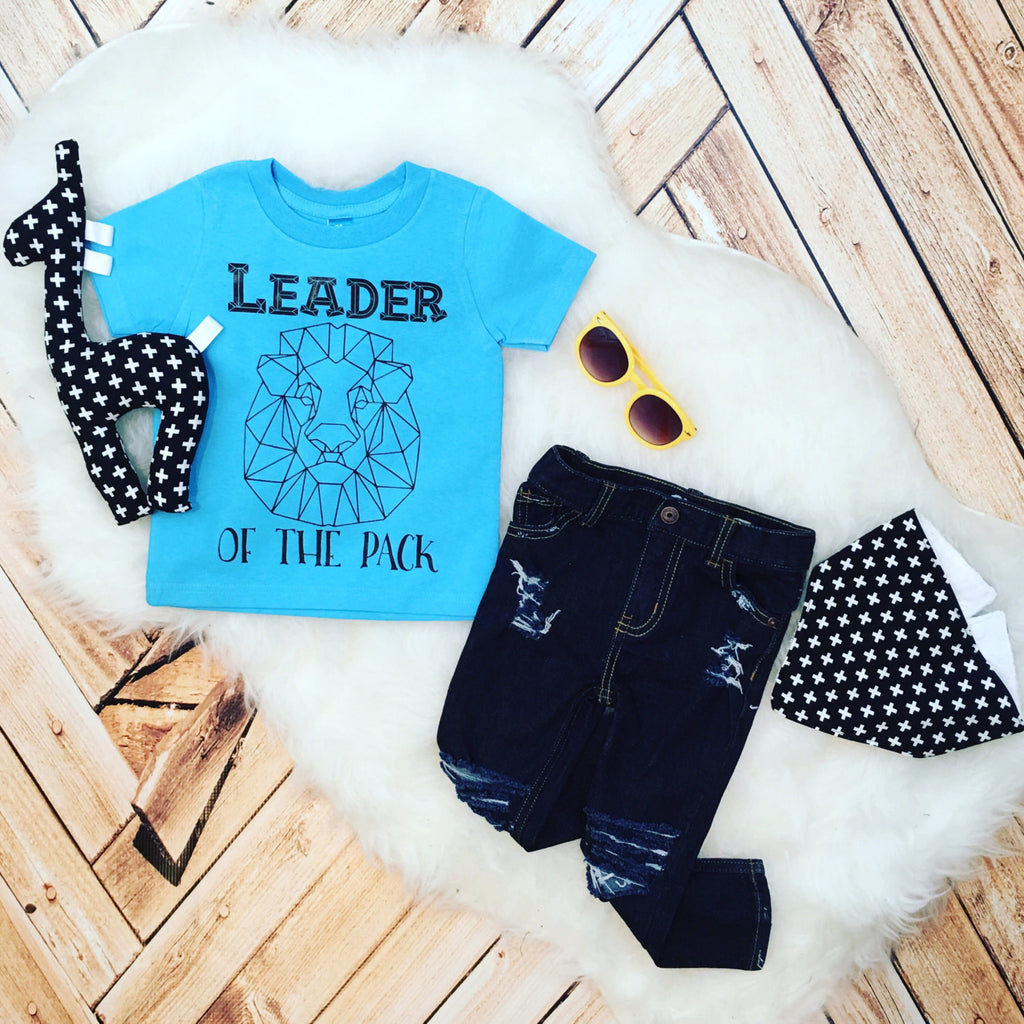 Funny Kid Tee Leader of the Pack geometric Lion alpha toddler Infant Shirt Bodysuit Trap Music lyric trendy shirt kids