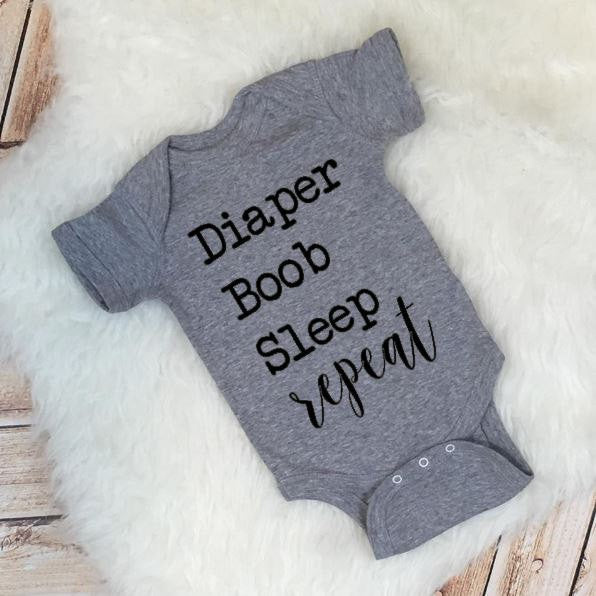 Funny Baby Tee Diaper Boob Sleep Repeat Baby Shower Gift Newborn Breastfeeding Cloth Diaper Squad Crunchy Mama Shirt
