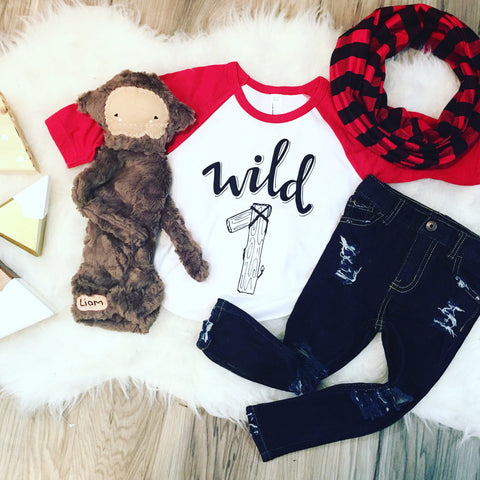 Beard Lumberjack Season WILD ONE 1 Birthday raglan Wood Buffalo Plaid themed party Toddler Baby tee