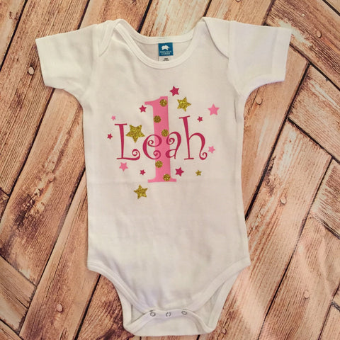 1st Birthday Bodysuit or Tee : Twinkle Twinkle