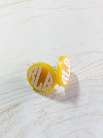 16mm Personalized Monogram Post Earrings. Acrylic, you choose colors combo Southern Girl! Custom initials Stocking Stuffer , hypo-allergenic