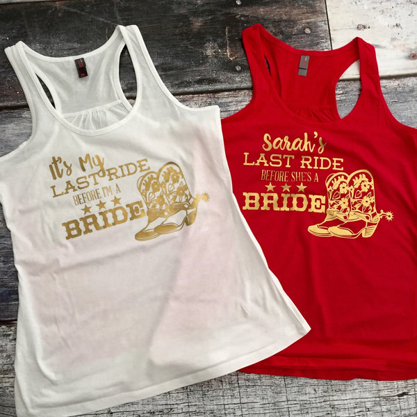 Last Ride Before She's a Bride Bachelorette Party Tank or Tee