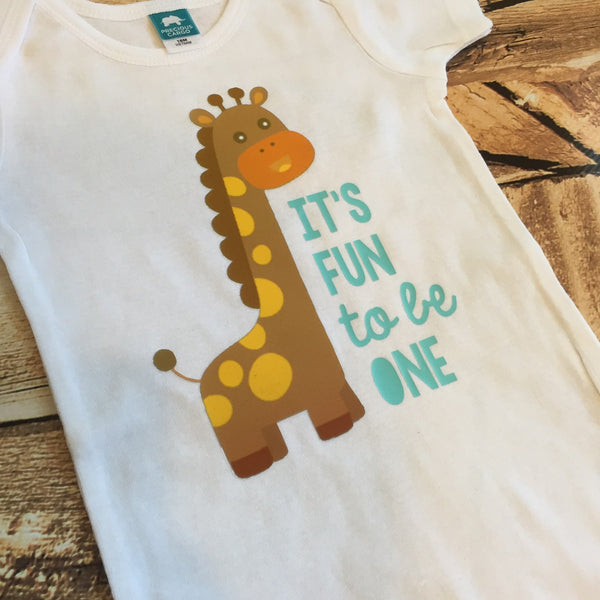 It's Fun to Be One First Birthday Giraffe Bodysuit or Tee