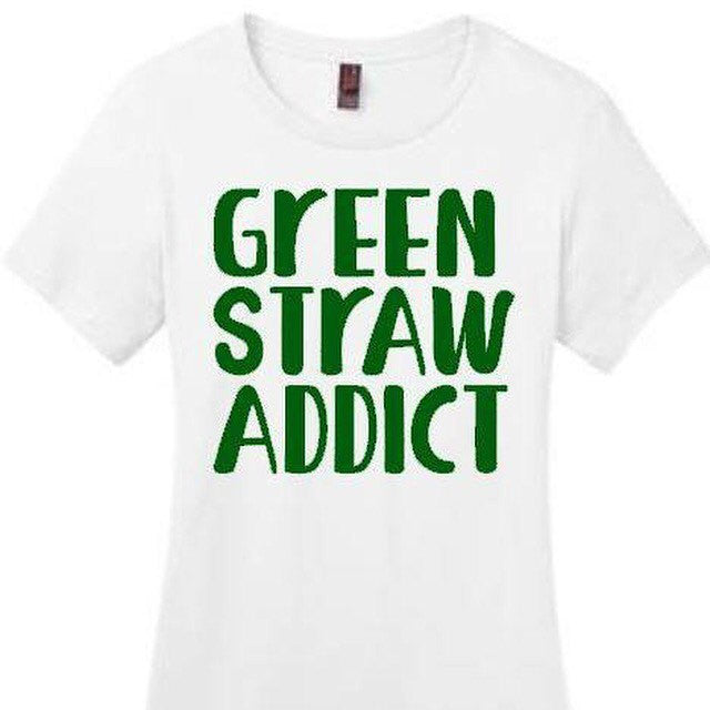 Green Straw Addict -- Coffee Lovers Tee or Tank