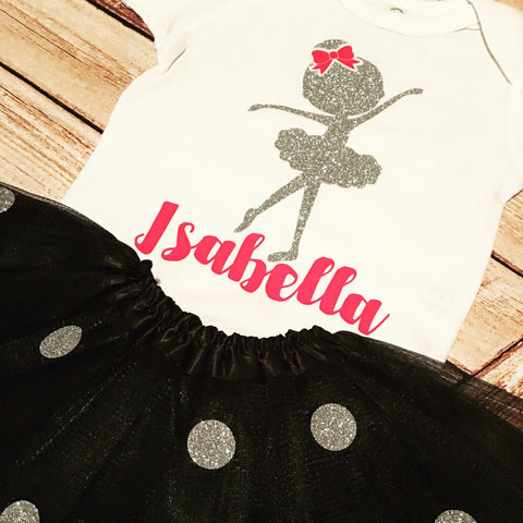 1st Birthday Tiny Ballerina Custom Birthday Shirt