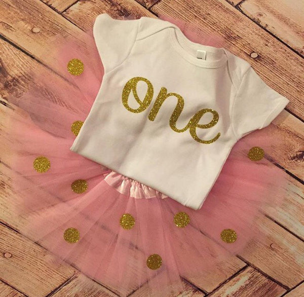 One Pink and Gold 1st Birthday Glitter Outfit