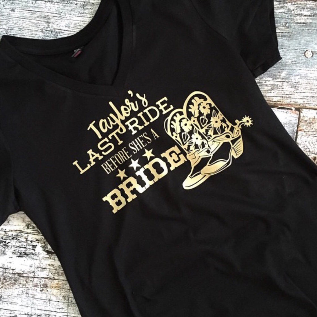 Last Ride Before She's a Bride Bachelorette Party Matching V Neck T Shirts