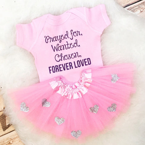 Adoption Adopt Prayed Chosen Want Forever Loved Glitter matching Personalized Custom bodysuit tutu skirt set court outfit glitter baby