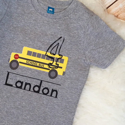 Yellow School Bus Birthday Tee Shirt
