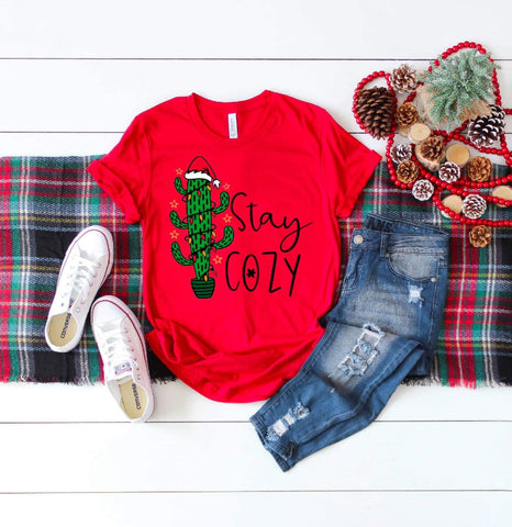 Stay Cozy Cactus Christmas Holiday Adult Shirt