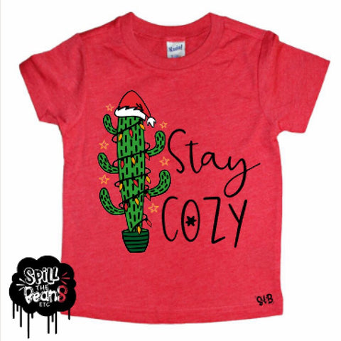 Stay Cozy Full Design Cactus Christmas Kid's Shirt
