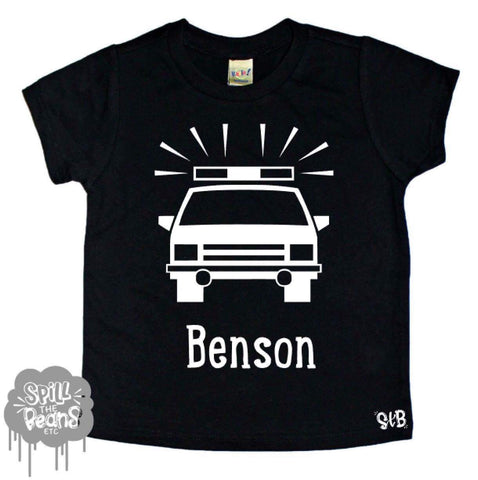 Custom Name Police Car kids Tee Shirt