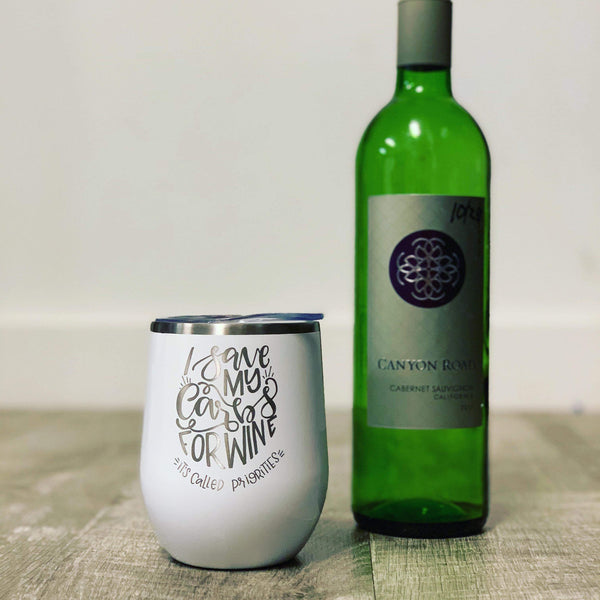 Customizable 12 oz Engraved Stemless Wine Cup