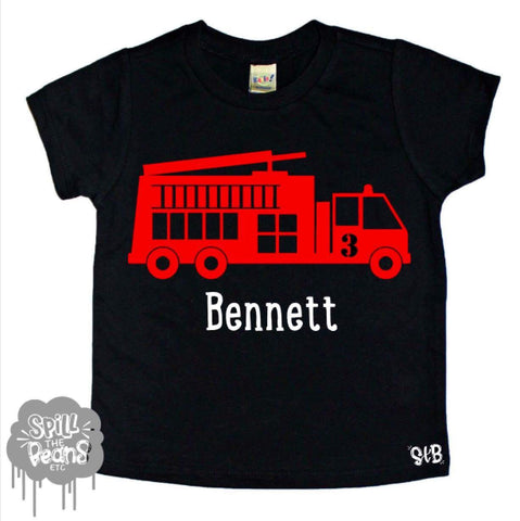 Custom Name Firetruck kids Tee Shirt