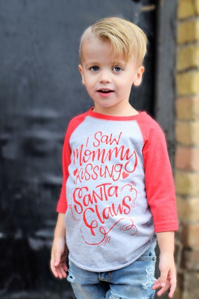 I Saw Mommy Kissing Santa Claus Christmas Raglan