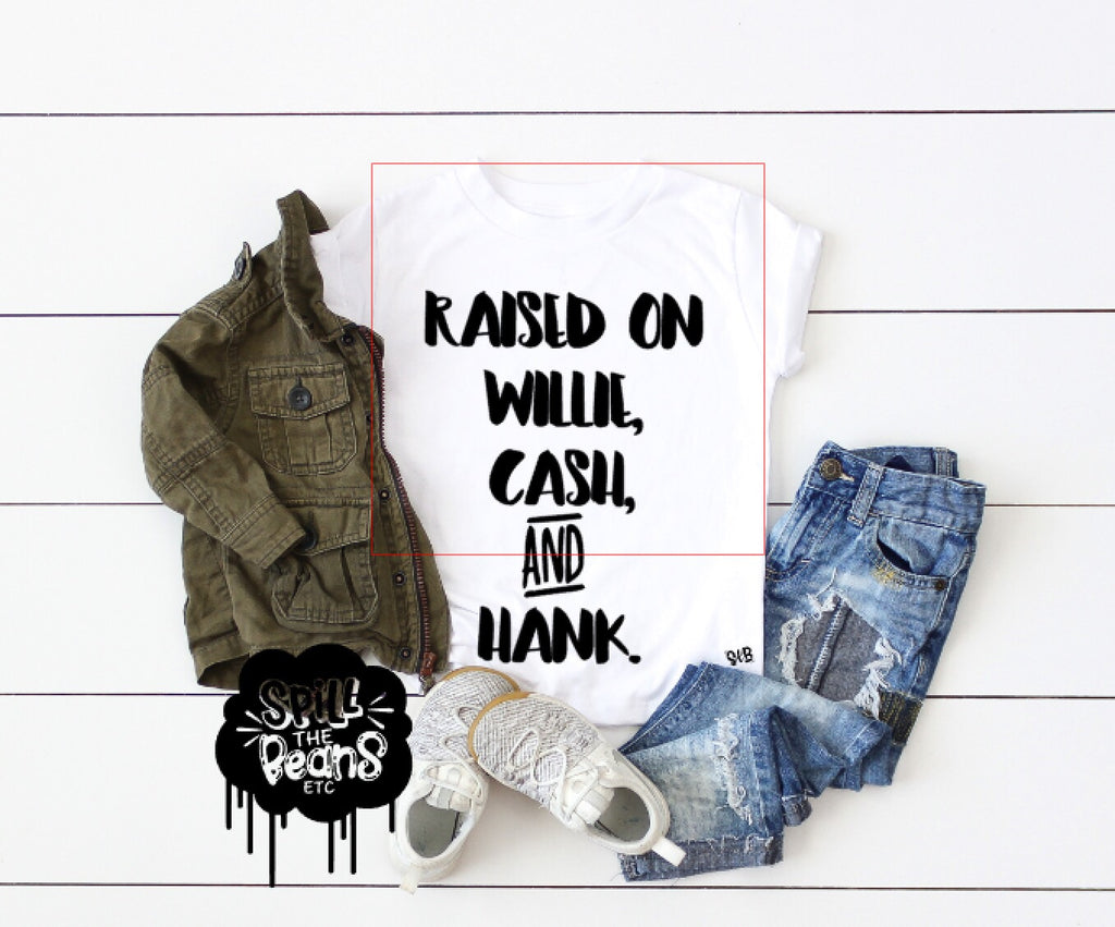 Raised On Willie, Cash and Hank Adult Tee Or Tank