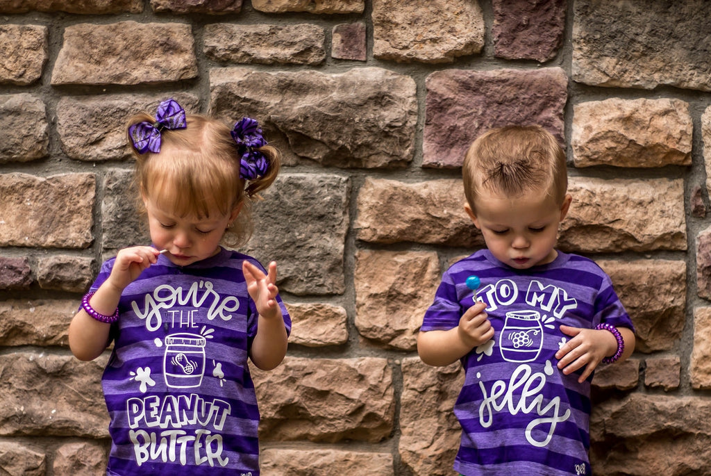 833b58e1f1c8 ... You're the Peanut Butter to My Jelly Matching Sibling Best Friend  Announcement Shirts ...