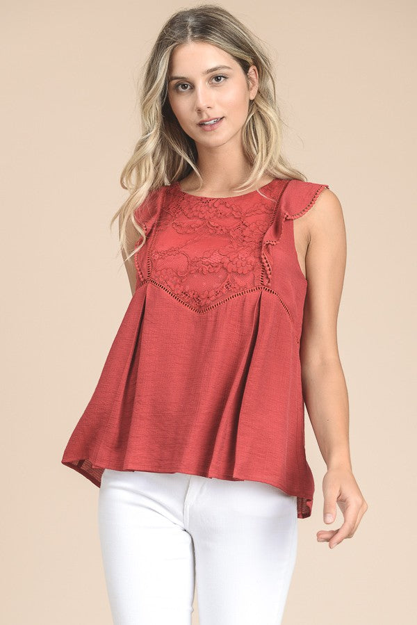 d08327991bc Flutter Sleeve Peplum Top With Lace In Tomato – spillthebeansetc.com