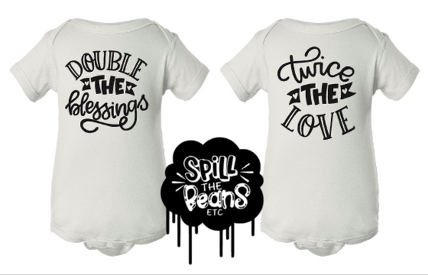 Double The Blessings + Twice The Love Kid's Tees Or Bodysuits