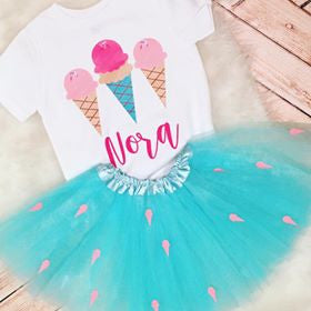 Custom Ice Cream Birthday Or Party Kid's Tee Or Bodysuit