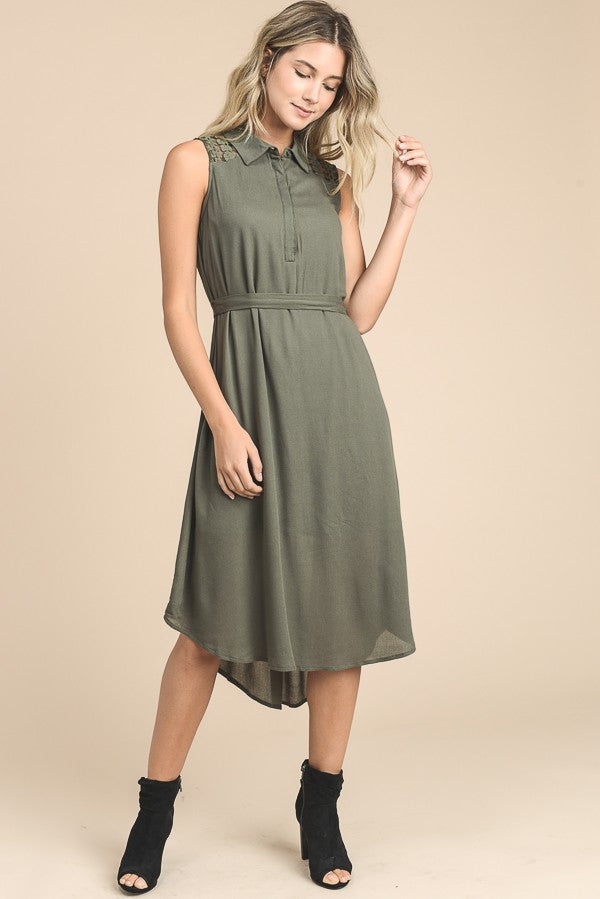 Olive Collared Midi Dress With Belt