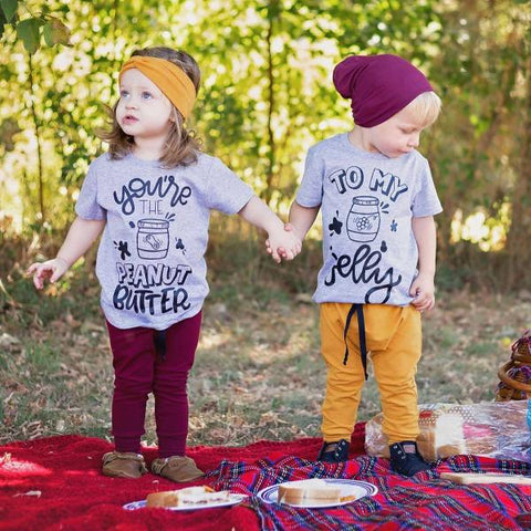 You're the Peanut Butter to My Jelly Matching Sibling Best Friend Announcement Shirts