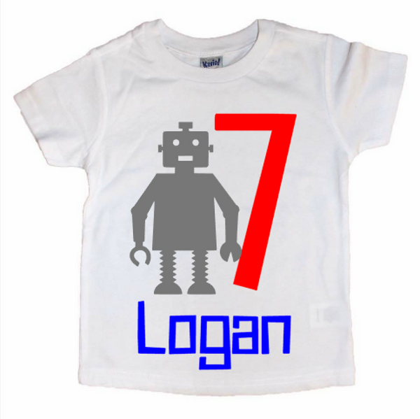 Robot Custom Age Birthday Kid's Tee