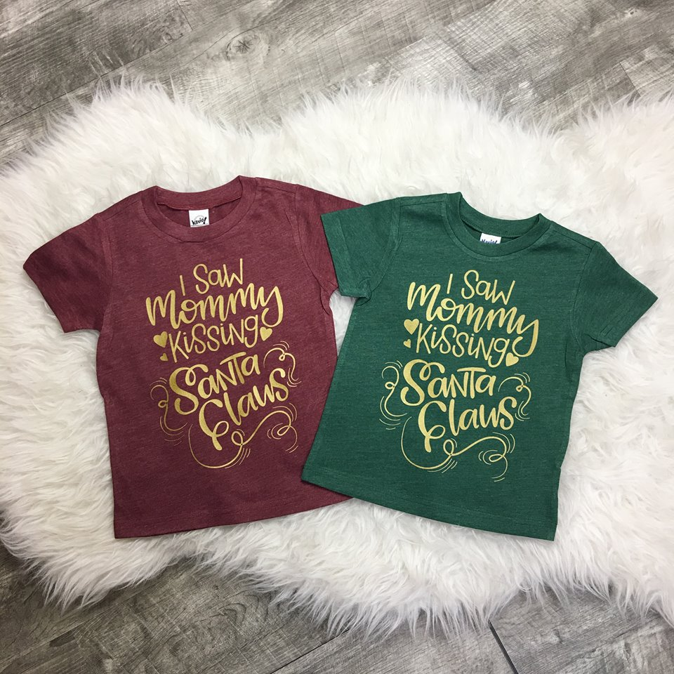 I Saw Mommy Kissing Santa Claus GOLD or RED print Christmas Toddler Tee