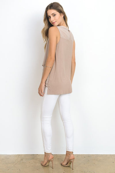 Blush Raglan Button Down Top With Tie Neck
