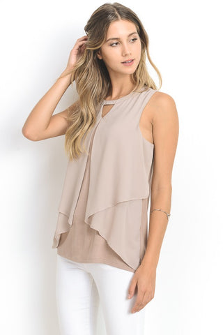 Sleeveless Mockneck Drape Top